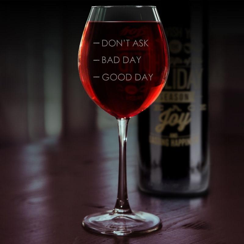 """Келих для вина з іменним гравіюванням """"Good day Bad day"""""""