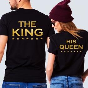Парные футболки с принтом Король и его королева (FTB-161)