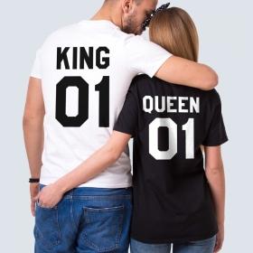 Парные футболки с принтом Король и королева (FTB-162)