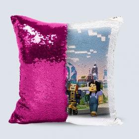 Подушка з паєтками і вашим фото 40х40 см